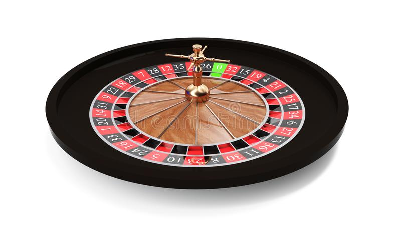 3d rendering of an isolated wooden casino roulette with golden decorations standing bent on one side. Casino games. Winning chance vector illustration