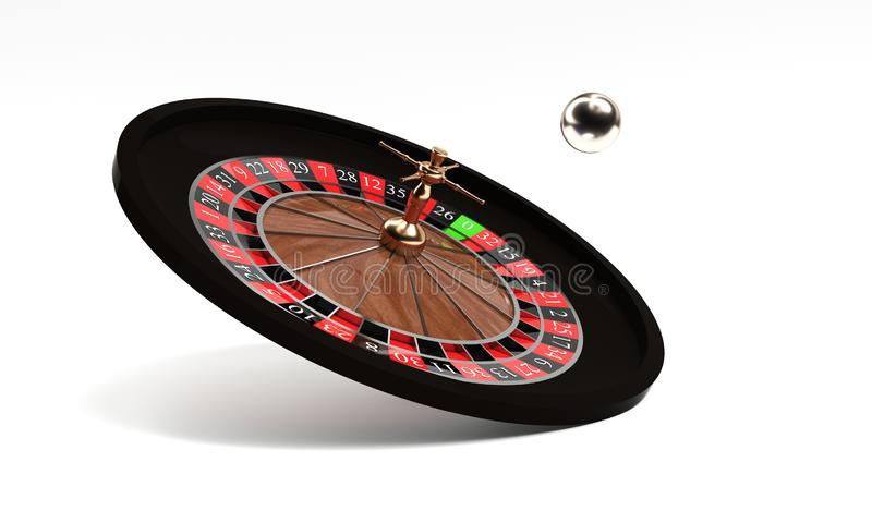 3d rendering of an isolated wooden casino roulette with golden decorations standing bent on one side. Casino games. Winning chance. 3d rendering of an isolated vector illustration