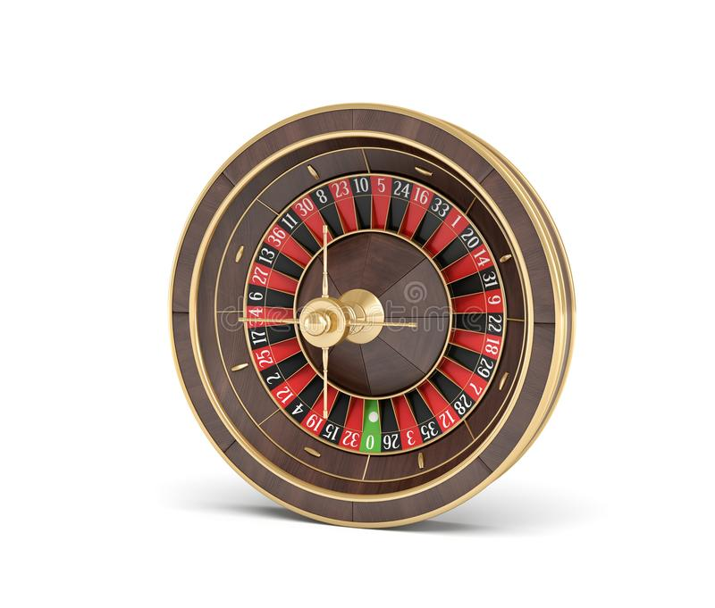 3d rendering of an isolated wooden casino roulette with golden decorations on white background. Casino games. Winning chance. Black or red betting vector illustration