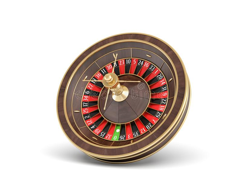 3d rendering of an isolated wooden casino roulette with golden decorations on white background. Casino games. Winning chance. Black or red betting royalty free illustration
