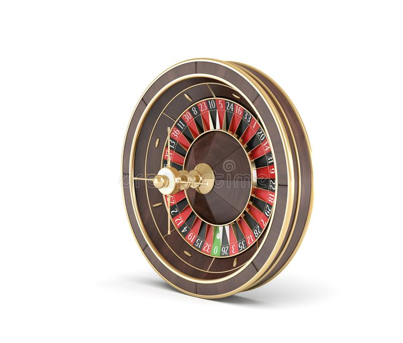 3d rendering of an isolated wooden casino roulette with golden decorations on white background. Casino games. Winning chance. Black or red betting stock illustration