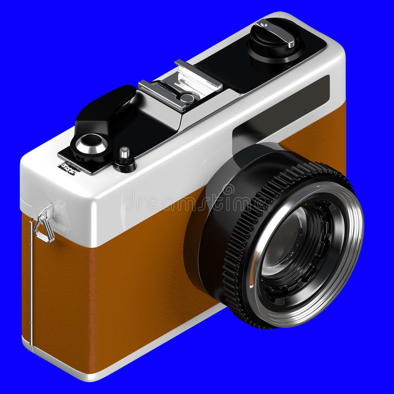 3d rendering of isometric old retro vintage camera isolated on a royalty free illustration