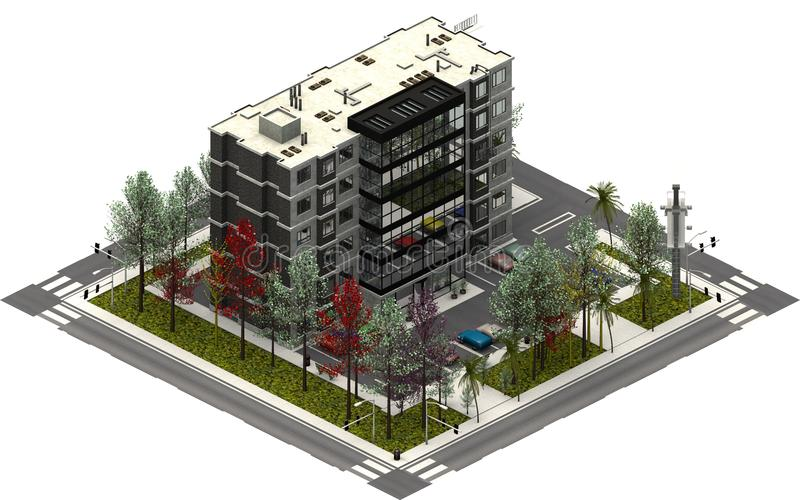 Isometric city buildings, parking lot with office company. 3D rendering stock illustration