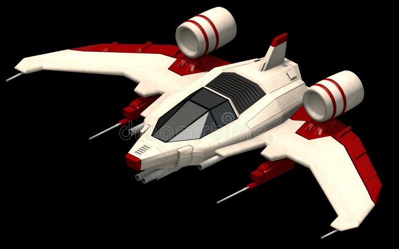Isometric futuristic sci-fi architecture, small space shooter. 3D rendering. 3D rendering of an isometric platform of a space fighter. An illustration of a small stock illustration