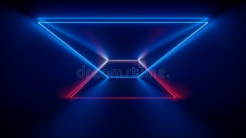 3d rendering, jarzy się linie, neonowi światła, abstrakcjonistyczny psychodeliczny tło, produkt gabloty wystawowej szablon, pozaf royalty ilustracja