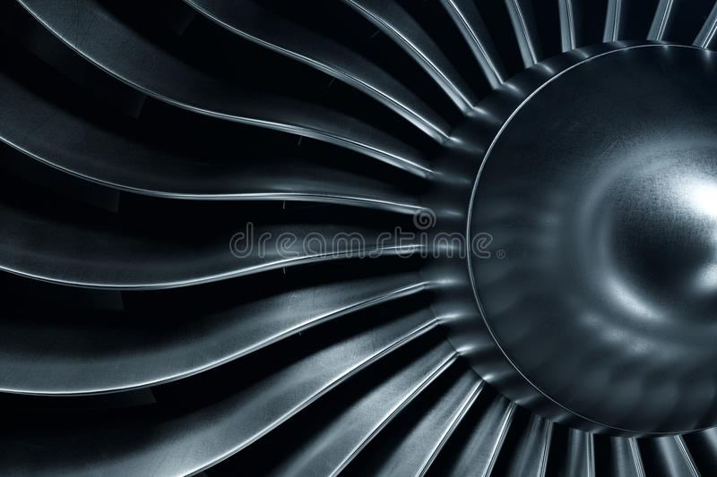 3D Rendering jet engine, close-up view jet engine blades. Blue tint. 3D Rendering jet engine, close-up view jet engine blades. Blue tint stock images