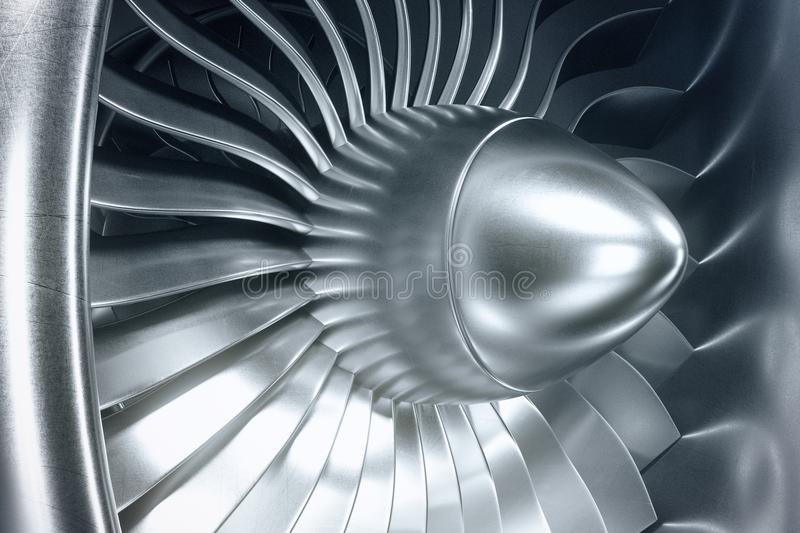 3D Rendering jet engine, close-up view jet engine blades. Blue tint. 3D Rendering jet engine, close-up view jet engine blades. Blue tint stock photo