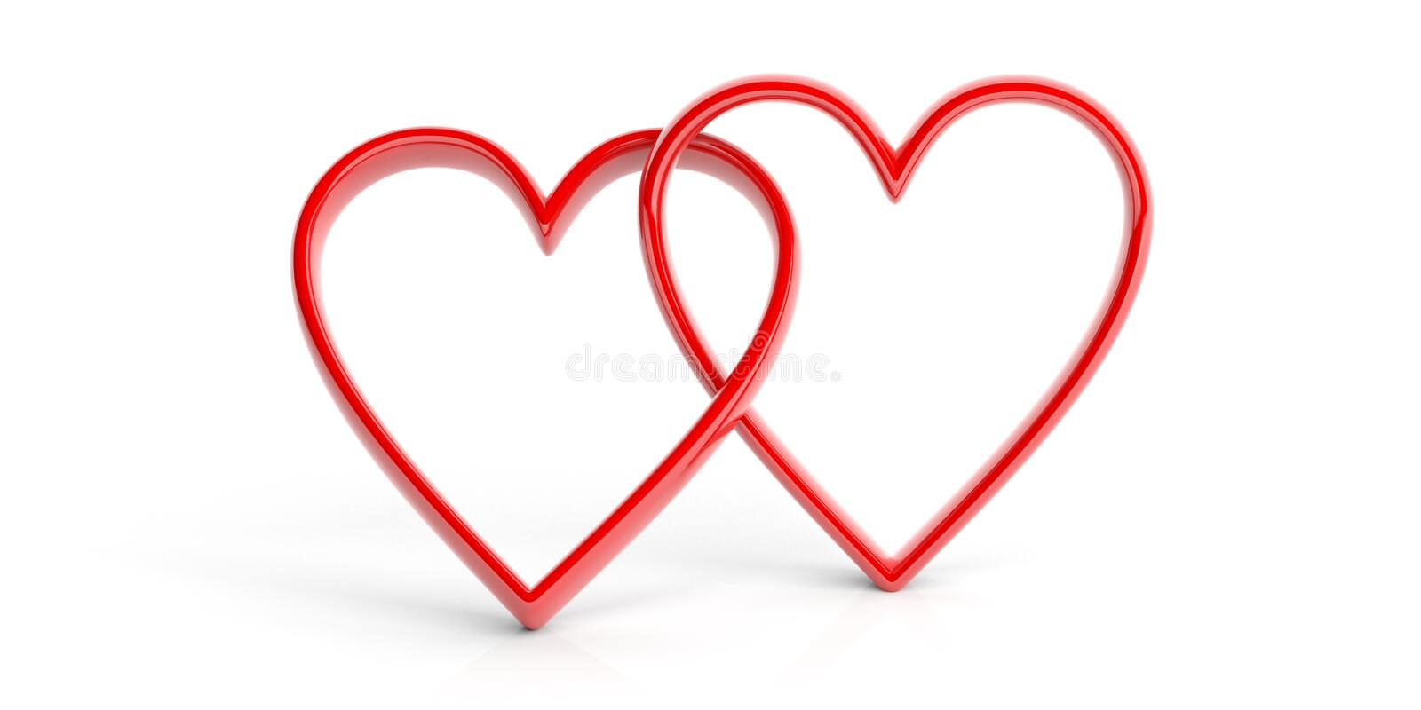 3d rendering joined hearts on white background. 3d rendering red joined hearts on white background vector illustration