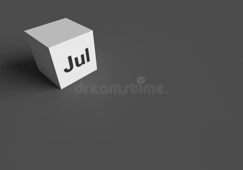 3D RENDERING OF `Jul` ABBREVIATION OF JULY. ON WHITE CUBE, STOCK PHOTO royalty free illustration