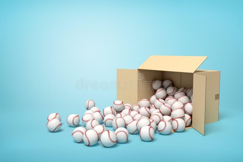 3d rendering kłama sidelong pełnego baseballe z niektóre piłkami na podłodze otwarty karton obrazy royalty free