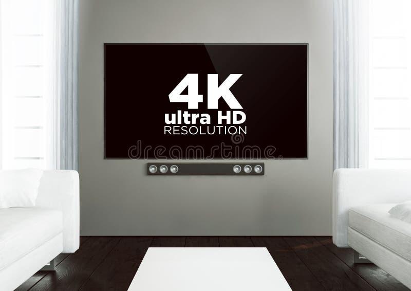 Wooden living room with 4k at smart tv. 3d rendering of 4k on smart tv on a wooden living room royalty free illustration