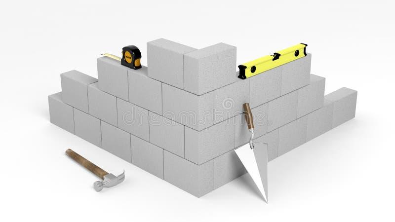 3D rendering kamieniarstwo cegły i narzędzia ilustracja wektor