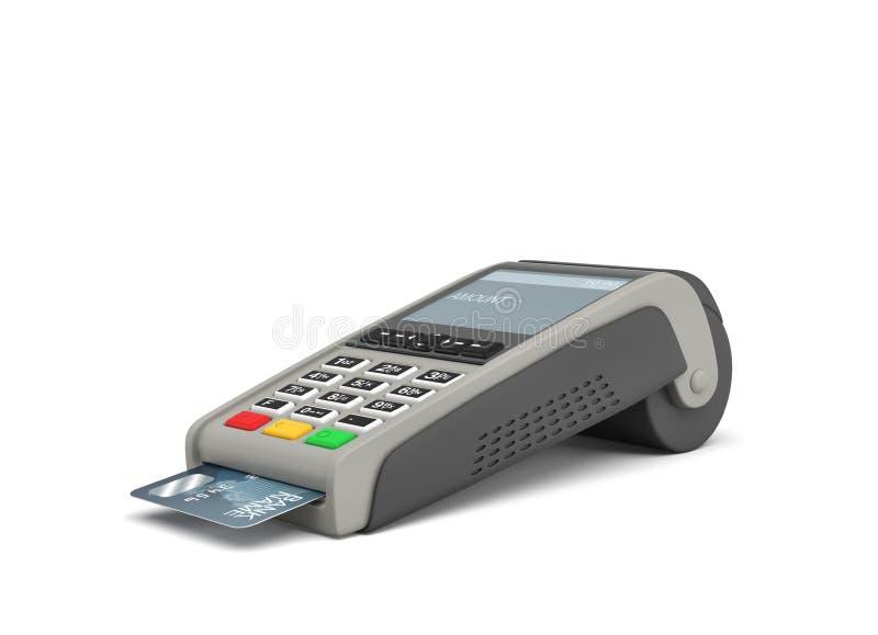 3d rendering karciany płatniczy terminal z klejenie klingerytu kartą inside na białym tle obrazy stock