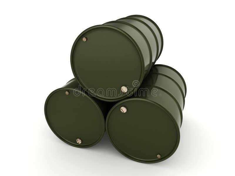 3D rendering khaki barrels. Not contain any inscriptions royalty free illustration
