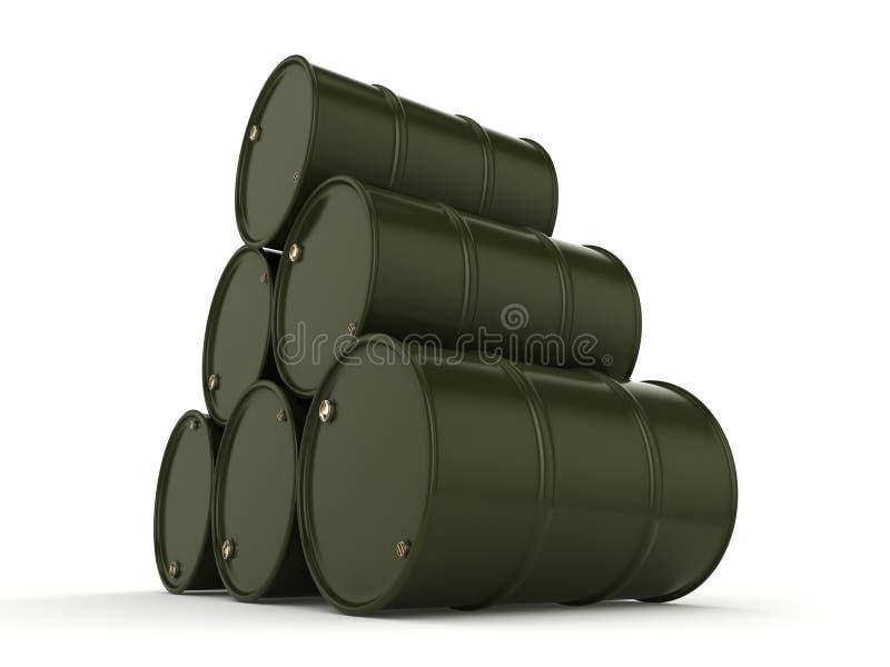 3D rendering khaki barrels vector illustration