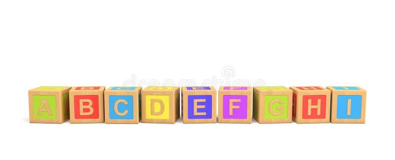 3d rendering kilka drewniane zabawkarskie cegły z angielszczyzna listami w alfabetycznym rozkazie na białym tle fotografia royalty free