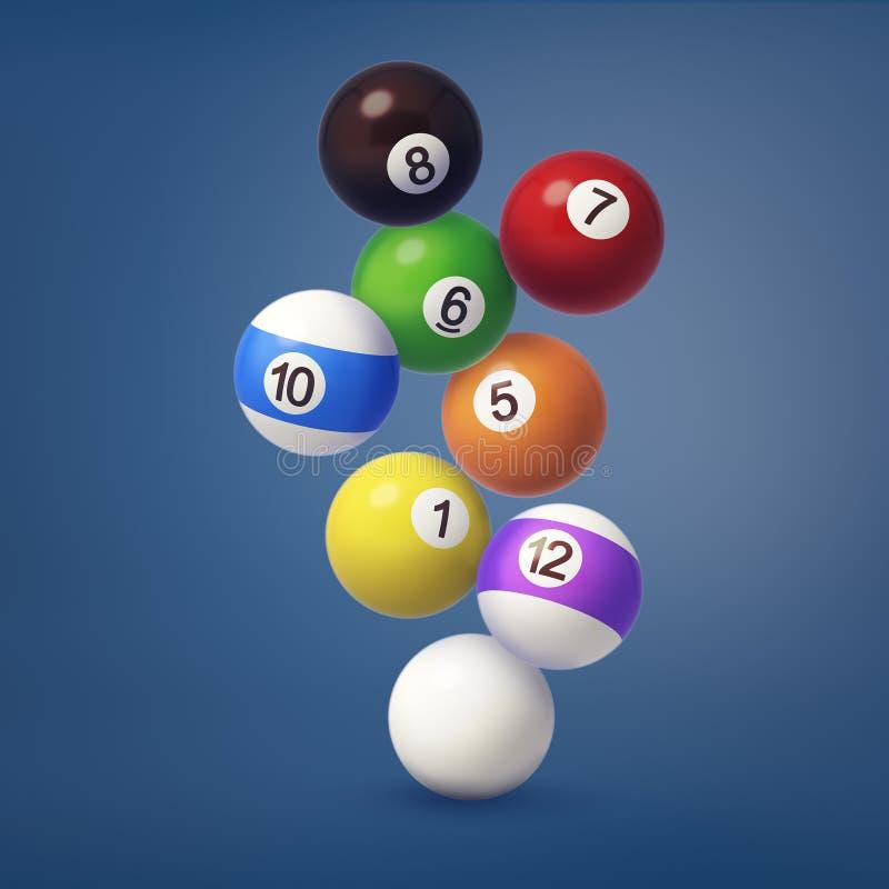 3d rendering kilka kolorowe billiards piłki z liczbami na one obwieszenie na zmroku - błękitny tło fotografia royalty free