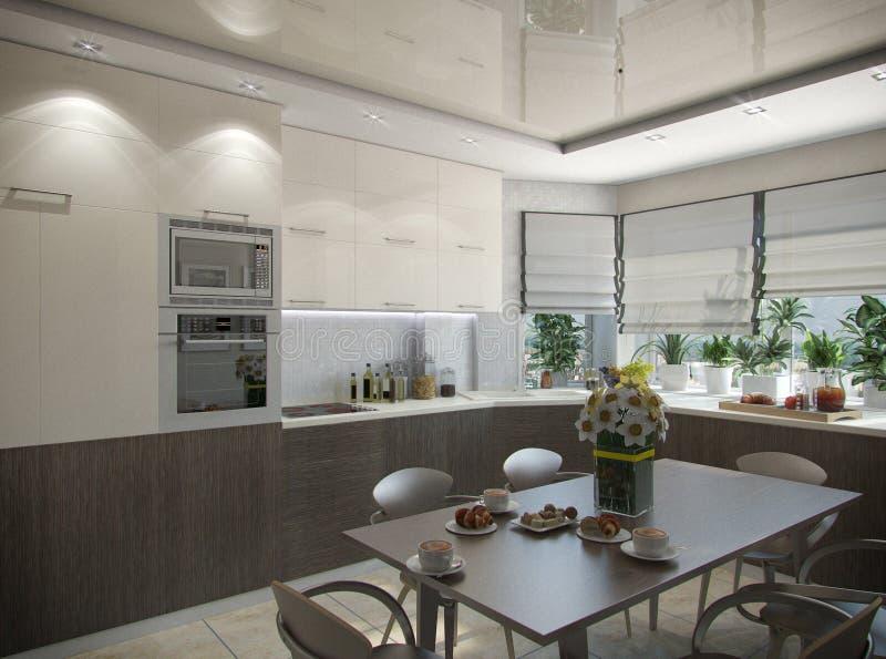 3d rendering of a kitchen in beige tones. 3d illustration of a kitchen in beige tones vector illustration