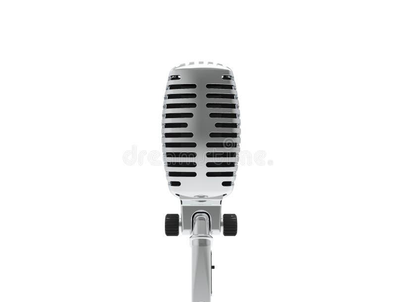 3D rendering klasyczny metalu chromu mikrofon odizolowywaj?cy na bia?ym tle royalty ilustracja