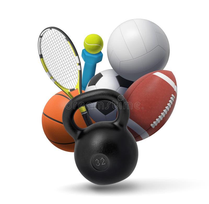 3d rendering kolekcja sporta i sprawności fizycznej wyposażenie: dumbbell, kettlebell, tenisowa przekładnia, i kilka drużynowy sp obrazy stock
