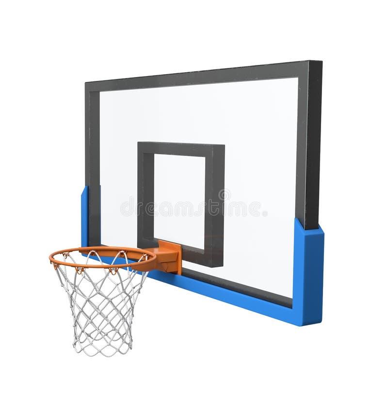 3d rendering koszykówka obręcz z pustym koszem przejrzystym backboard i royalty ilustracja