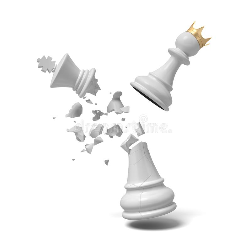 3d rendering krakingowy biały szachowy królewiątko kawałek łama pod latającym białym pionkiem z złotą koroną ilustracja wektor