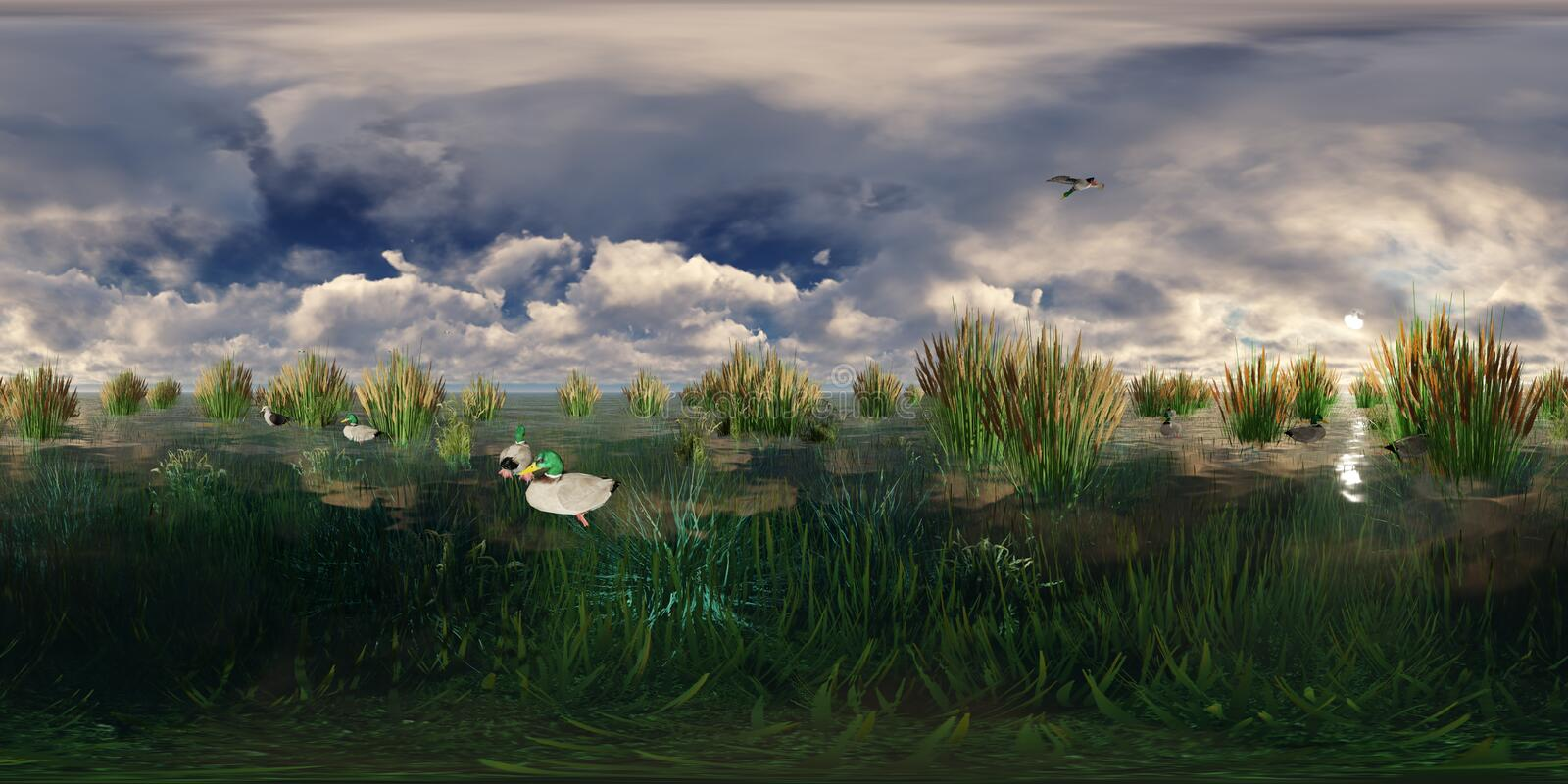 3d rendering of a lake with flying and swimming ducks stock illustration