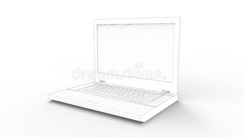3d rendering of a laptop isolated in white background stock illustration