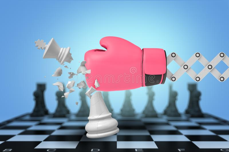 3d rendering of large boxing glove on a metal bracket hits and breaks a white chess king on a board. stock illustration