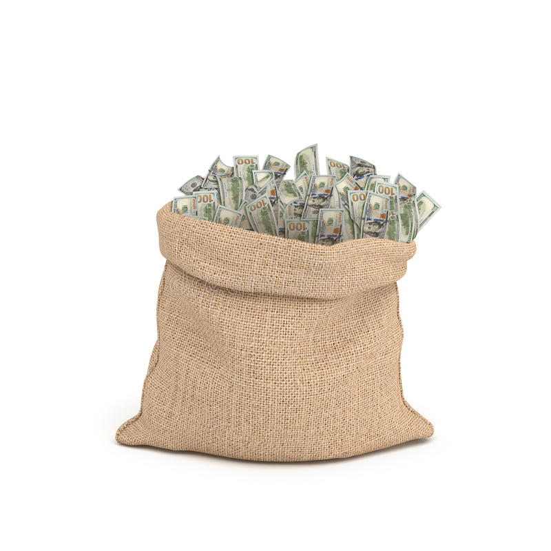 3d rendering of a large brown sack full of 100 dollar bills sticking from it isolated on white background. royalty free illustration