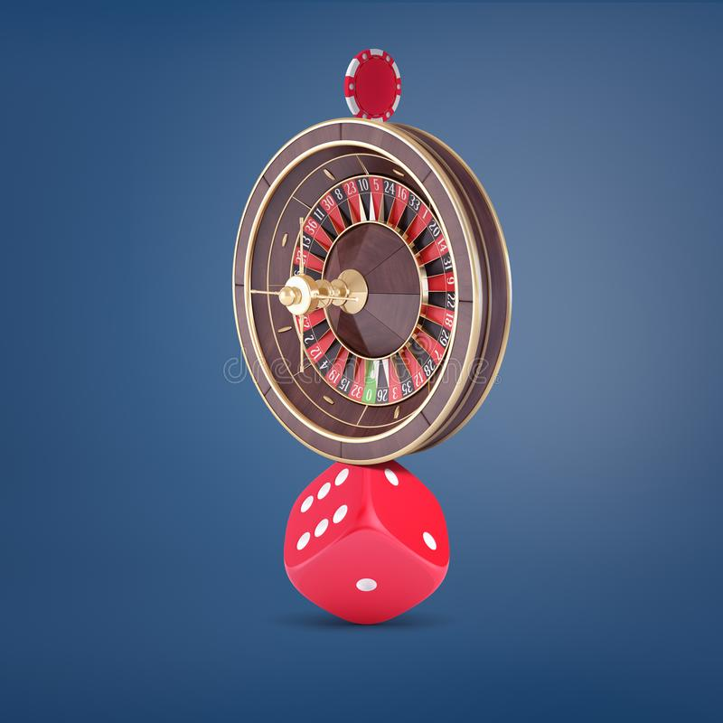 3d rendering of a large casino roulette balancing on a large red dice and holding a casino chip on the top. Casino gambling. Balancing life and games royalty free illustration
