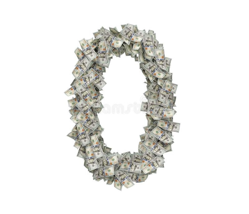 3d rendering of a large number 0 made of many USD hundred bills on a white background. royalty free stock images