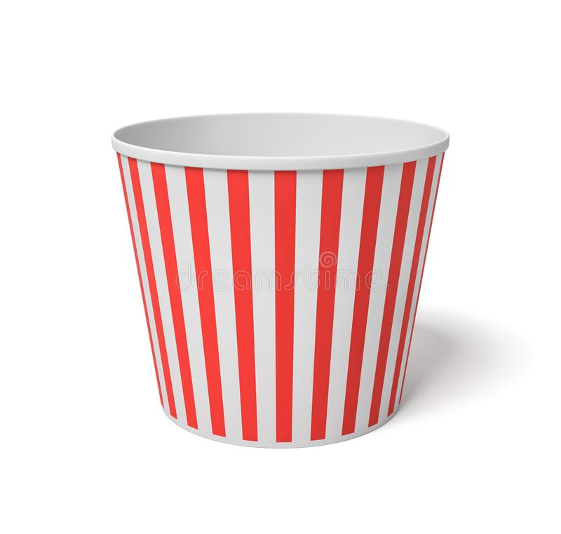 3d rendering of a large popcorn bucket with red and white stripes standing completely empty on a white background. stock illustration
