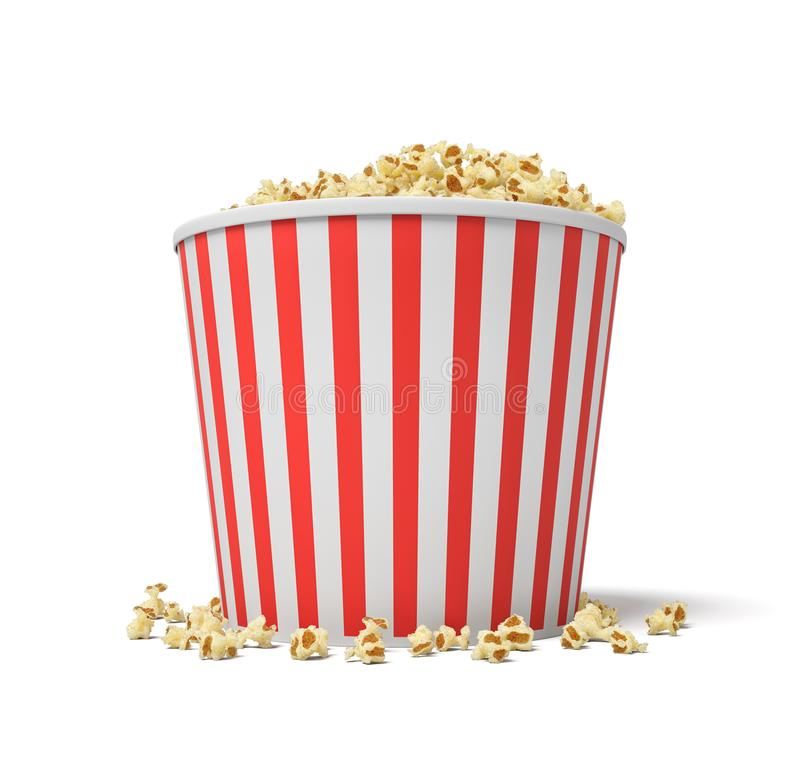 3d rendering of a large red and white bucket full of popcorn falling out of it on a white background. royalty free stock image