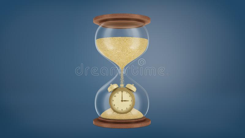 3d rendering of a large retro hourglass with a wooden base and golden sand falling on a gold alarm clock in the lower vector illustration