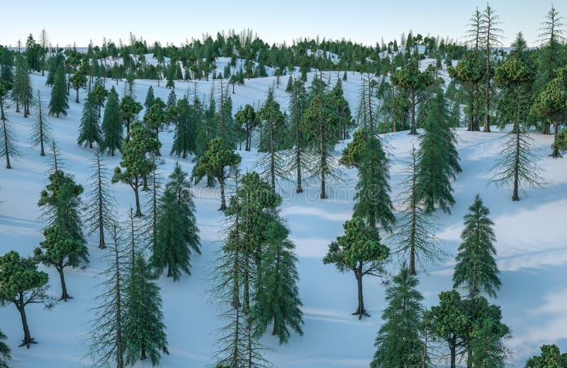 3d rendering, las i śnieg, obraz stock