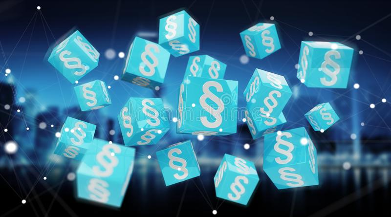 3D rendering law cubes stock illustration