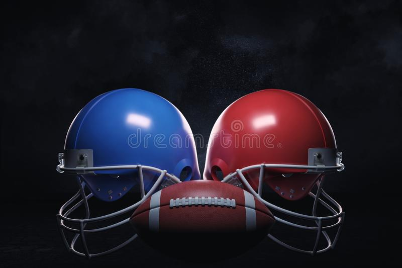 3d rendering of a leather ball standing between two American football helmets with face guards. royalty free stock photo