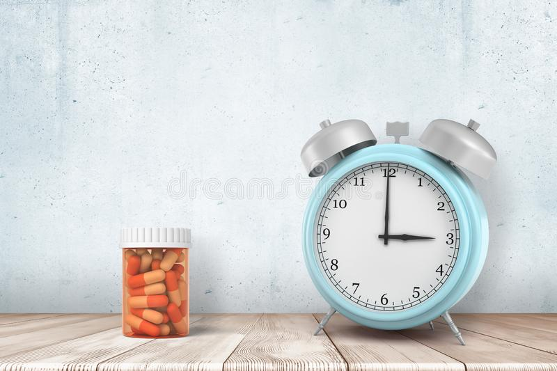 3d rendering of a light-blue alarm clock and an orange pills jar standing on a wooden table near a wall. stock images
