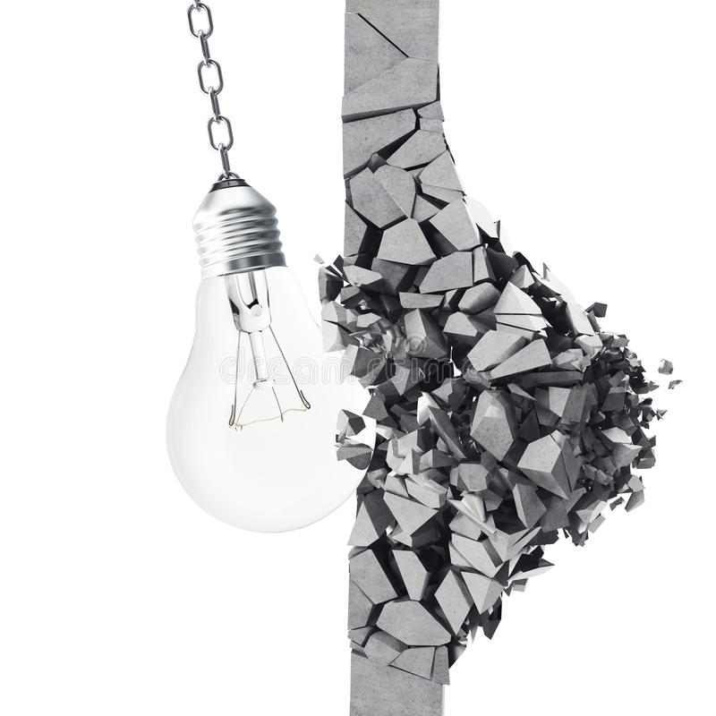 3d rendering light bulb, demolishing wall smithereens, concept of creative thinking and innovation. 3d rendering light bulb, demolishing wall smithereens stock illustration