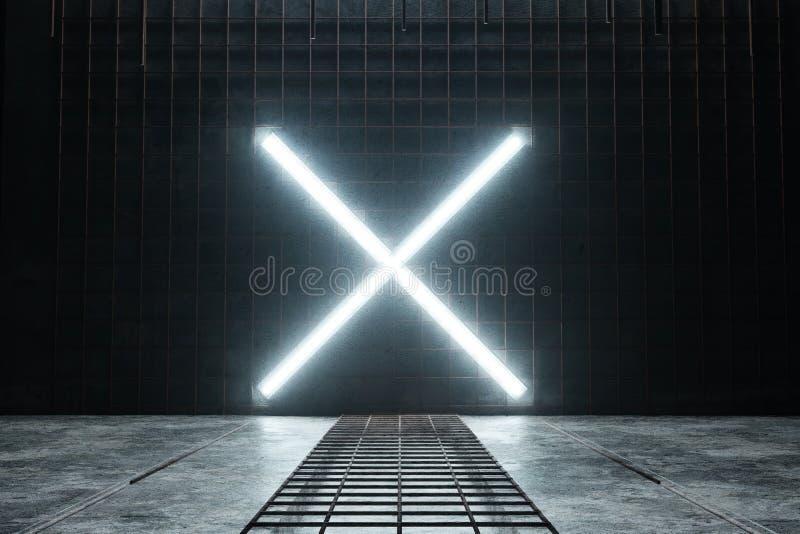 3d rendering of lighten X alphabet shape at rusty mesh and grunge wall stock illustration