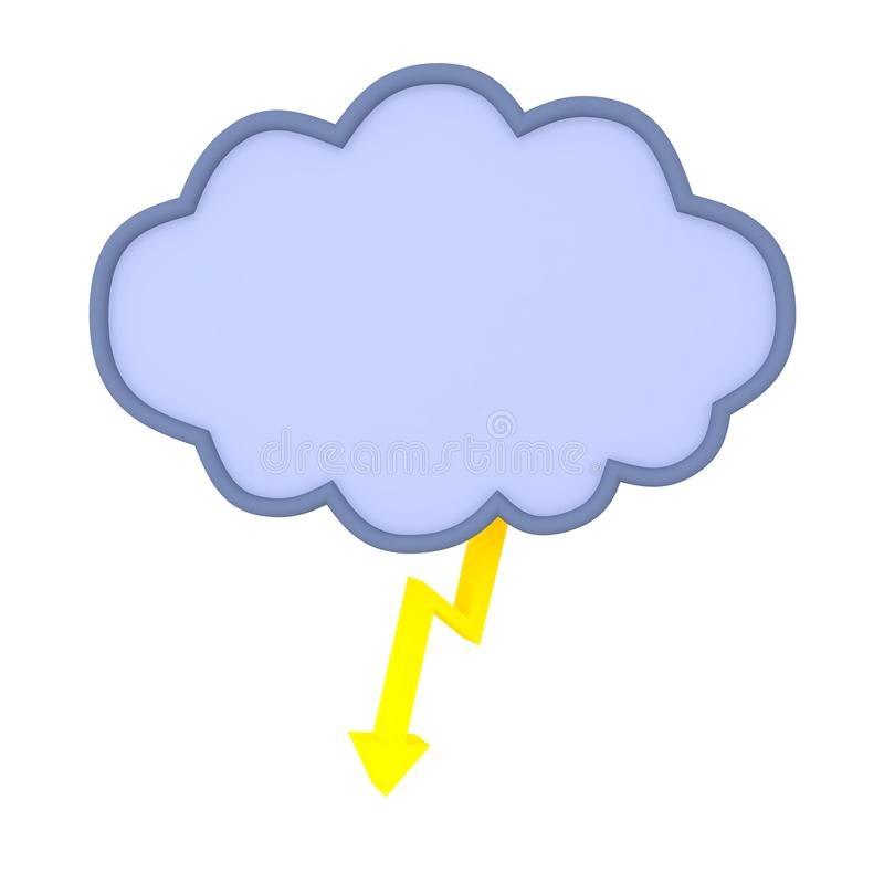 3D Rendering of lightning raincloud without water droplets. 3D Rendering isolated on white stock illustration