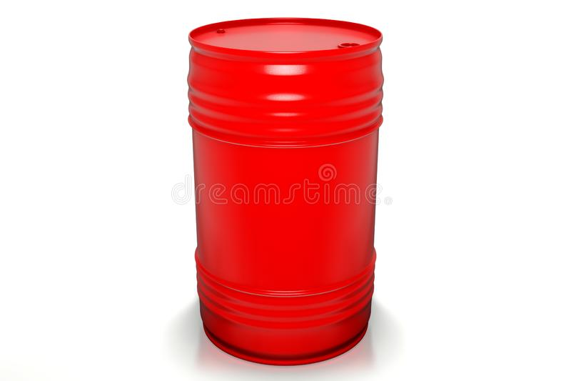 3d rendering of 200 liters red oil barrels isolated on white background vector illustration