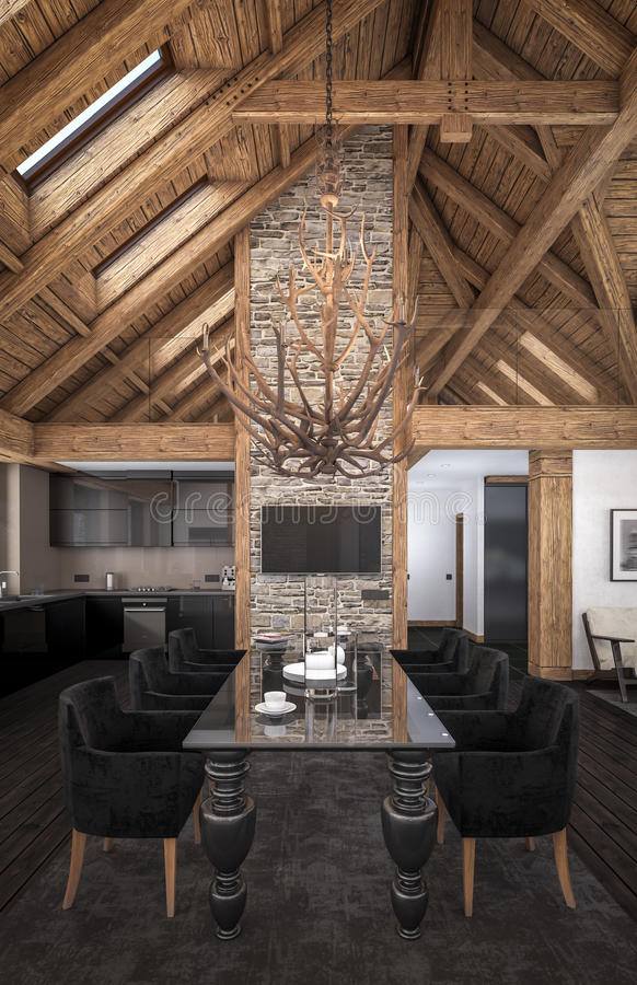 3D rendering of living room of chalet stock illustration