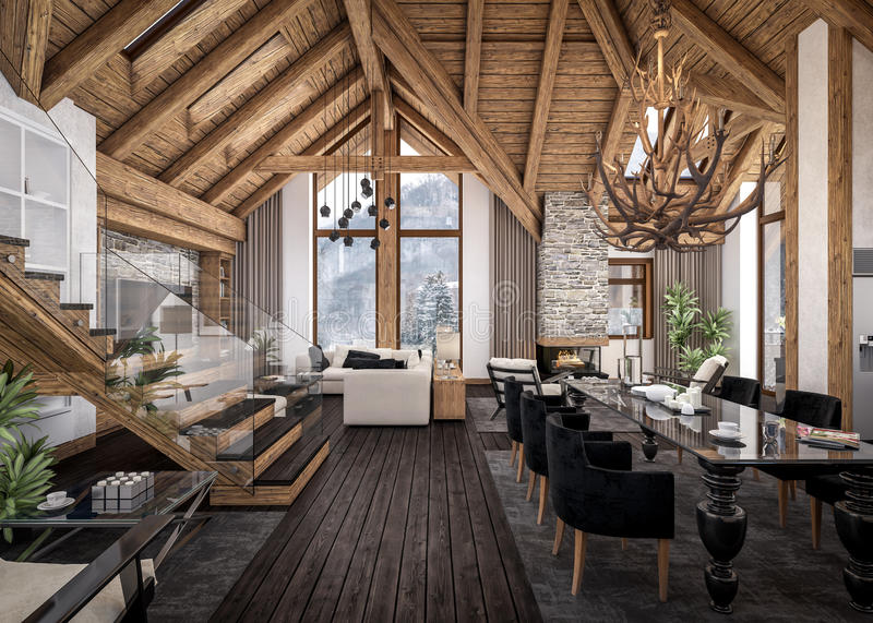 3D rendering of living room of chalet vector illustration