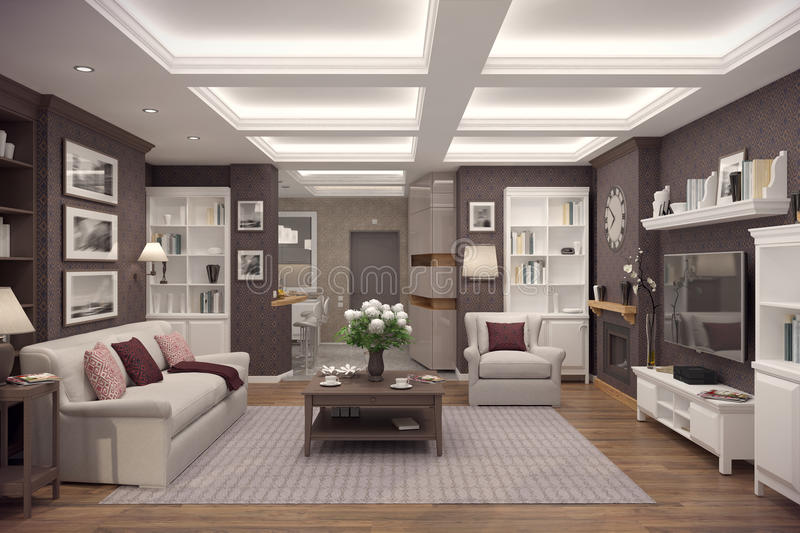 3D rendering of living room of a classic appartment royalty free stock image