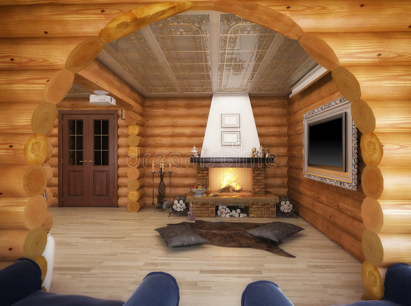 3d rendering of a living room in the house from logs. 3d illustration of a living room in the house from logs vector illustration