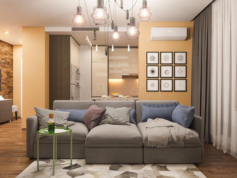 Download 3d Rendering Living Room Interior Design. Modern Studio Apartment  In The Scandinavian Minimalist Style