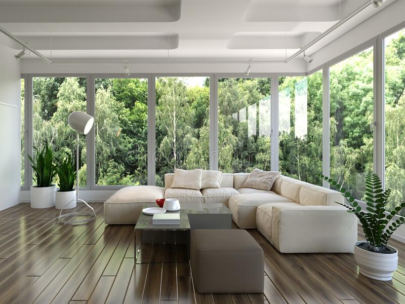 3d rendering of living room with panoramic windows. Idea pattern vector illustration