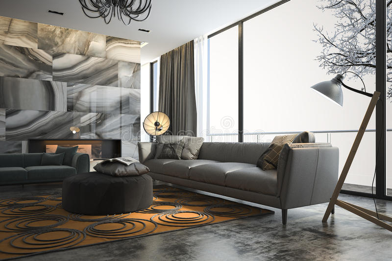 Delightful Download 3d Rendering Living Room With Sofa Near Winter Scene Outside  Window Stock Illustration   Illustration Good Ideas